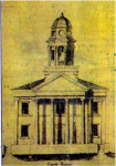 yellowed drawing of building with tower