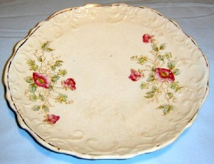white plate with floral design