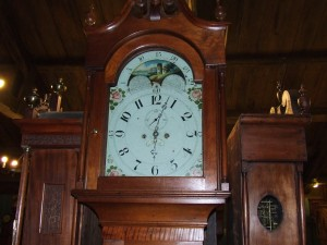 The Clugston clock that was purchased by David Reynolds stood for many years in his Kittanning Inn and later in the Reynolds Hotel.